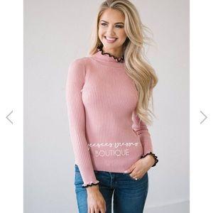 Pink Ruffle Neck Sweater